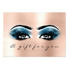 Gift Certificate Blue Rose Lashes Beauty Makeup Card #Elegant handpainted #watercolor #weddinginvitations Make your day special with these unique #wedding #invitations ideal for your wedding #party #cards and #stationary #weddingdaymakeup