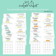 free printable 2014 planner calendars (to go with the DIY cereal box notebook!) sooooo pretty, easy, and inexpensive to make!