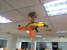 The person who rigged up this ceiling-mounted Nerf gun that can be controlled by a smartphone: being a teacher has a whole new meaning now #engineeringstudentsbeware