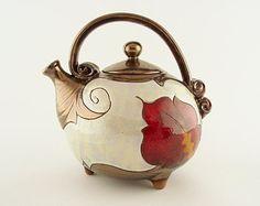 Flower ceramic teapot, pottery teapots, ceramics and pottery, red teapot, teapot set, stoneware teapot,