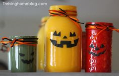 An easy, DIY Halloween decorating idea. Turn mason jars into colorful jack-o-lanterns!