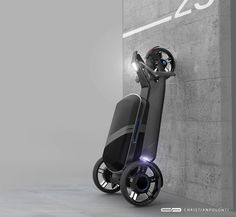 CityPorter eScooter Features Removable Suitcase to Carry Your Everyday Essentials  Designed by Christian Polonyi a German industrial designer CityPorter is a concept electric scooter to free you from public transport and traffic jam. This personal vehicle allows you to be independent to cruise around the city in smart and stylish way. Using current technology it is highly possible to develop an electric lightweight vehicle with battery capacity that offers a remarkable range of distance…