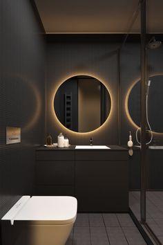 36 Modern Grey & White Bathrooms That Relax Mind Body & Soul 36 moderne graue und weiße Badezimmer, Contemporary Bathroom Lighting, Modern Bathroom Design, Bathroom Interior Design, Decor Interior Design, Bathroom Designs, Bathroom Ideas, Small Bathroom, Bath Design, Lobby Interior