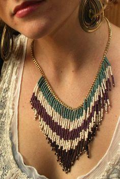 beaded fringe necklace.