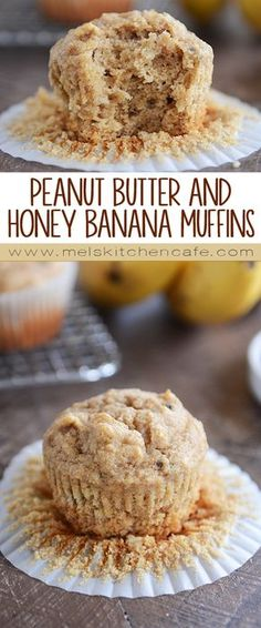 Healthy Snacks Whole Grain Peanut Butter and Honey Banana Muffins - These whole grain peanut butter banana muffins (with honey) are soft and tender and absolutely delicious! Perfect for breakfast or snack! Healthy Sweets, Healthy Breakfast Recipes, Healthy Baking, Breakfast Ideas, Healthy Brunch, Vegan Breakfast, Healthy Breakfast On The Go, Healthy Recipes, Banana Breakfast