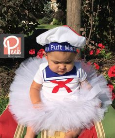 Marshmallow Tutu, Stay Puft Marshmallow costume, White tutu, Baby Sailor outfit, Halloween GhostBusters, Ghostbusters Girls costume by PeekBoutiqueBaby on Etsy https://www.etsy.com/listing/242682268/marshmallow-tutu-stay-puft-marshmallow