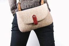 Felt Bag/ Brown wool felt cross body bag/ Street fashion/