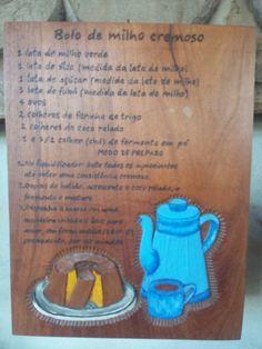 quadro de receita, madeira cedro. artista regina vieira