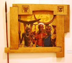 Africans amb reposacaps. Acrílic sobre tàblex.