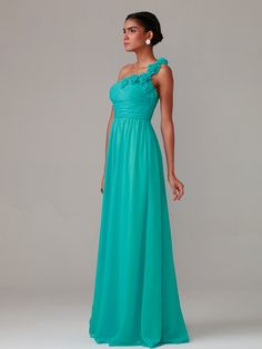 A Line/Princess One Shoulder Floor Length Chiffon dress with Hand Made Flowers