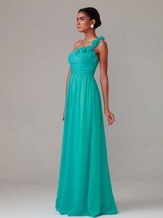 A Line/Princess One Shoulder Floor Length Chiffon dress with Hand Made Flowers