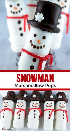 Snowman Marshmallow Pops - a fun Christmas Treat. Candy coated marshmallows on a stick with an Oreo cookie hat. These candy Snowmen are so adorable and so fun to make. They would be perfect for a Holiday Bake Sale or your child's school Christmas Party. Cute Christmas Desserts, Christmas Goodies, Christmas Candy, Holiday Treats, Christmas Treats, Christmas Pops, Xmas, Kids Christmas, Marshmallow Snowman