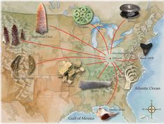 Interesting and detailed map showing the avenues of trade between the Ohio Moundbuilding Culture and other cultures (100 BC - 500 AD).