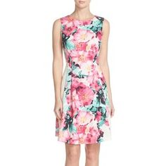 Vince Camuto Floral Print Sleeveless Stretch Scuba Fit & Flare Dress