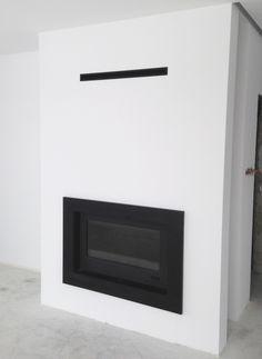 kominek nowoczesny n76 z ramą z czarnego granitu