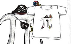 Funny Pi-rate shirts and gift ideas by Mudge Studios for those that celebrate Pi Day every day and more specifically honoring Pi Day on March 14th at 1:59 PM- that's 3.14159… Pi Day should never end. Featured is Pi as a swashbuckling pirate armed with eye patch, sword, peg leg and of course a parrot. Pi Rules!