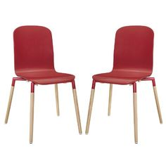 Plutus Brands MF0436 Dining Chairs Wood (Set of 2), Red