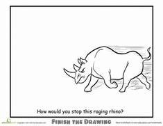 Second Grade Animals Worksheets: Finish the Drawing: How Would You Stop This Raging Rhino? Finish The Drawing Worksheets, Art Worksheets, Coloring Books, Coloring Pages, Creative Arts Therapy, Drawing Prompt, Arts Integration, Art Therapy Activities, My Art Studio