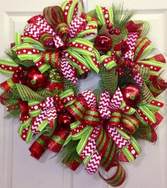 Christmas Mesh Wreath with lots of layers of ribbon