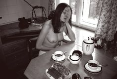 Dana In Kitchen, Riga, 2002 by Arnis Balcus Riga, Art Photography, Kitchen, Table, Nude, Photography, Artistic Photography, Cucina, Cooking