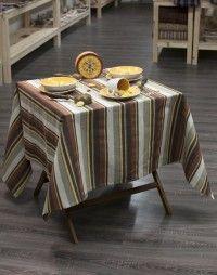 Nappe métis 60 % coton / 40 % lin.  Nappe 100 % Made in Tarn. Nappe marron jaune