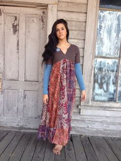 Chelsea dress-medium large-artsy-Eco clothing-upcycled clothing-Free People inspired-by Andys Summer designs
