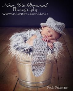Crochet PATTERN - Baby Neck Tie And Fedora Little Man Hat Set - Instant Download PDF 118 - Photography Prop Pattern
