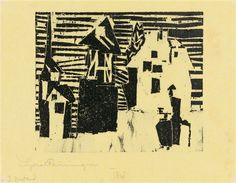 Lyonel Feininger Dorf            Artwork by Lyonel Feininger, Dorf, Made of Woodcut on yellow tissue paper © Images are copyright of their respective owners, assignees or others Artwork Details Dimensions:  5.83 X 6.89 in (14.8 X 17.5 cm) Medium:  Woodcut on yellow tissue paper Creation Date:  1918 - 1926 Edition Number:  2 of 10 Signed