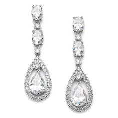 Mariell Oval-Cut Cubic Zirconia Special Occasion Bridal Earrings with Platinum Halo Pear-Shaped Dangles. Beautiful cascading oval-cut CZ gems with unique pave caged pear-shaped teardrop for dramatic wedding elegance. Plated in Genuine Platinum-Based Rhodium; Dazzling slender design 2 inches high. Top Quality AAAAA Cubic Zirconia; Finest CZ's with diamond-like brilliance. Lifetime Guaranteed For Endless Durability and Sparkle; Risk-Free 100% Money Back Guarantee. Beautiful Free…