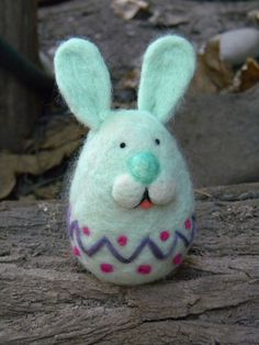 Easter Happy BunnyEgg  Needle felted Home decor by feltingdreams