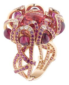 Chaumet Hortensia ring in pink gold, set with rubies, pink sapphires, diamonds, red tourmaline drops and an 8.6ct round faceted pink tourmaline in the centre.