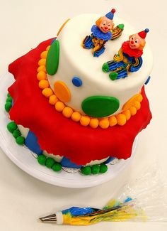 Wilton Cake Decorating: Course 3 final cake The Future VersionOf Treat & Cookie Improving! Wilton Cake Decorating, Cookie Decorating, Clown Cake, Clown Party, Birthday Parties, Birthday Cake, Wilton Cakes, Crazy Cakes, Frosting Recipes