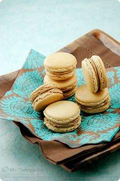 Spiced Chai Latte and Salted Caramel Macarons. These will be a Christmas must. #macarons, #baking, #saltedcaramel
