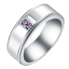 0b99569181fb silver plated wedding band ring jewelry Rhodium plated vintage party gift  for women purple cz zircon