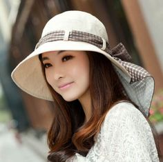 56fdbdeb17a Plaid bow sun protection hat for women riding wide brim sun hats Sun Hats  For Women