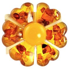 Baltic Amber Flower Brooch by Yourgreatfinds on Etsy