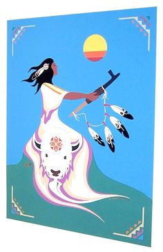 """I love this amazing picture """"White buffalo calf woman"""" ღ .anyone knows the artist / painter ? Native American Paintings, Native American Artists, Native American Indians, Indian Paintings, Native Indian, Native Art, American Indian Art, American Bison, Indian Tattoo Design"""