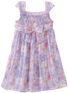 Youngland Little Girls' Toddler Smocked Sleeveless Chiffon Dress With Bow At Center Girls Special Occasion Dresses, Girls Dresses, Dress With Bow, The Dress, Spring Dresses, Smocking, Bodice, Girl Outfits, Shabby Chic