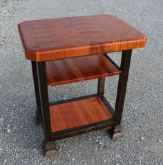 For those of you who love the rustic old world look, this island is sure to grab you attention. It has 2 inch square steel frame that we rust with acid and then varnish to protect it. The solid 2 1/2 inch thick mahogany end grain cutting board is great for prepping and cutting your food. The butcher block top is 24 x 32. And the mahogany shelf slides out for easy access. Call for specific size request.