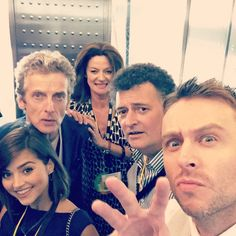"""Panel 2 - DOCTOR WHO - Peter Capaldi, Jenna Coleman, Steven Moffat, Michelle Gomez - Hall H, """"I managed to trap them in an spacecrafty looking elevator on the way down to the panel."""" @nerdist #sdcc2015 #sdccDiarywick #Whovator"""
