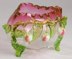 Stevens & Williams tri-cornered, crimped edge cranberry to clear bowl with green applied leaves and feet, white and red cherries. Art Of Glass, Cut Glass, Steven Williams, Acorn Decorations, Vases, Brides Basket, Willow Pattern, Vaseline Glass, Pink Depression Glass