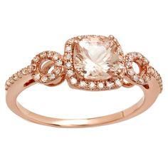 Elora 10k Rose Gold 1 1/6ct TGW Cushion Morganite and Round White Diamond Bridal Engagement Ring (I-J, I2-I3) (Size 5.5,Rose Gold), Women's, Pink