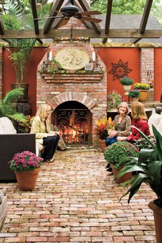 The brick in this patio came from buildings that were torn down in the area. The biggest problem with using antique brick is that the sizes aren't uniform. That can make it tough to lay out a patio, so set the brick in sand, rather than concrete, to give Indoor Outdoor, Outdoor Rooms, Outdoor Gardens, Outdoor Living, Outdoor Patios, Outdoor Kitchens, Patio Design, Garden Design, Wall Design