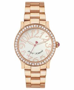 Betsey Johnson Watch, Women's Rose Gold-Tone Bracelet 40mm BJ00290-09