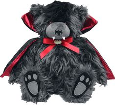 Spiral Direct Ted The Impaler, collectable soft plush teddy bear with vampire cape black - Spiral Black Teddy Bear, Cute Teddy Bears, Gothic Shop, Gifts For Pet Lovers, Baby Kind, Toy Store, Cuddling, Beer, Punk