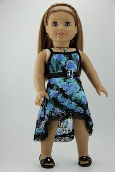 "American Girl doll clothes - High low strappy dress outfit (fits 18"" doll) (433blu)"
