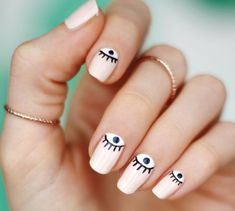 Eye's on our nails Funky Nails, Cute Nails, Pretty Nails, Fabulous Nails, Gorgeous Nails, Hair And Nails, My Nails, Evil Eye Nails, Nails Decoradas