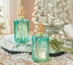 Set of 3 Illuminated Mini Ice Blue Glass Candles by Valerie Parr Hill Valerie Parr Hill, Mercury Glass, Light Up, Candle Holders, Glow, Candles, Qvc, Mini, Ebay