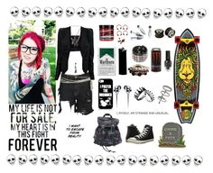 """""""My Heart is In This Fight Forever"""" by bringalltimesilence ❤ liked on Polyvore featuring Faith Connexion, Hot Topic, Forever 21, WALL, Santa Cruz Skateboards, Miss Selfridge and Converse"""