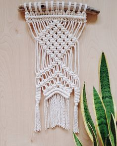 Macrame Wall Hanging-on driftwood by ChelseaVirginia on Etsy